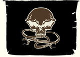 human skull and snakes poster