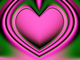 valentines heart closeup (green & pink)