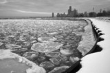 chicago winter shore lake michigan ice flow cold poster