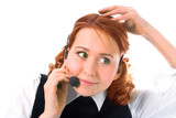 beauty girl operator on white background poster