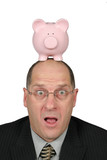 business man with piggy bank on head and his mouth poster