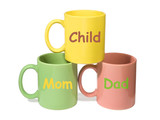 three colorful mugs - mom, dad, child (family) poster
