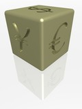 gold cube with the image of currency poster