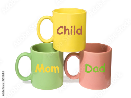 poster of three colorful mugs - mom, dad, child (family)