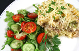 tuna and pasta bake with salad poster