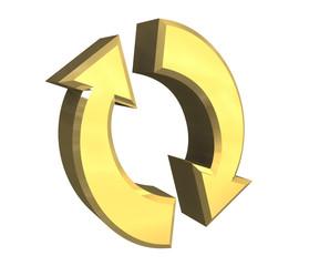 simbolo 2 freccie in oro fondo bianco