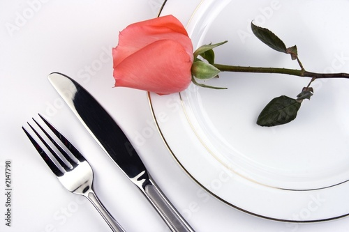place setting with rose - 2147798