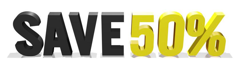 fifty percent savings 3d text