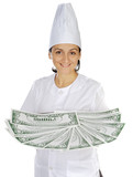 attractive cook woman saving money in its purchases and meals poster