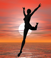 sunset leaping