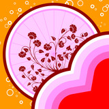 abstract st. valentine card with flowers and circles, vector ill poster