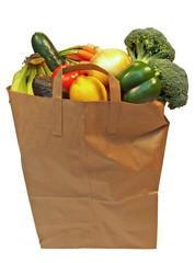 bag of fresh fruits and vegetables