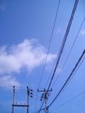 antenna against blue sky poster