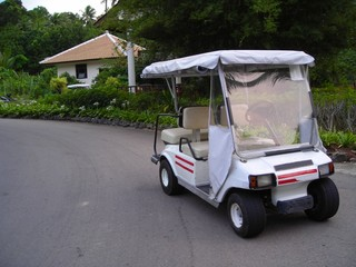parked golf buggy with copyspace