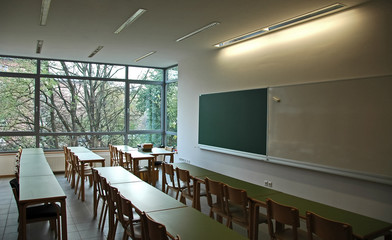 classroom with nature view