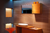 modern bathroom with blue-orange colours