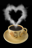 cup of coffee and steam like a heart poster