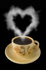 cup of coffee and steam like a heart