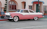 classic automobile in pink color