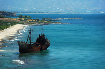old shipwreck in greece.