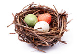 three speckled eggs in nest poster