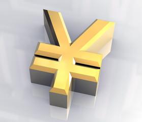 simbolo dello yen con riflesso