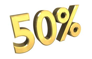 simbolo cinquanta per cento 50% in oro