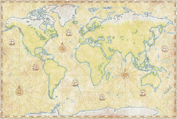 world map on parchment