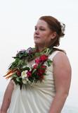 beautiful bride with garland around her neck poster