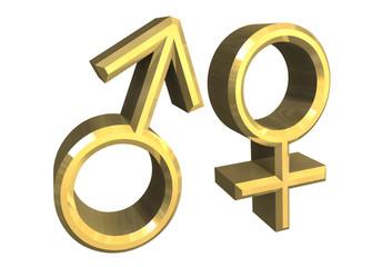 simbolo maschio femmina in oro