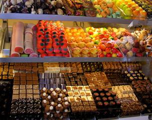 homemade candy shop window display with marzipan