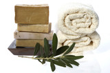 spa. natural soaps and olive branch poster