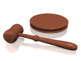wooden gavel from the court on white background poster