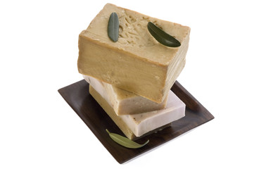 spa. natural soaps and olive leaves