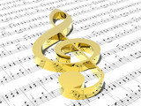 treble clef on sheet of printed music poster