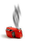 small red car accident poster