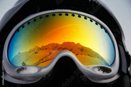 mountains reflected in glasses - 2172758