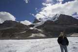 columbia icefield with blond woman poster