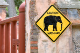 beware of elephants sign poster