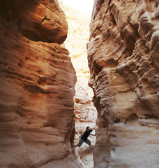 climber in canyon
