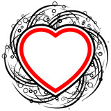 abstract valentine card with scrolls, circles  and heart shape - poster
