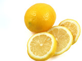 whole and cut lemon poster