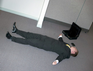 businessman lies down