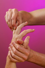 reflexology hand massage finger zone