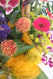 tropical flower arrangement yellow pink purple poster