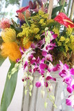 colorful flower arrangement tropical pink, yellow, poster