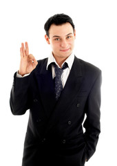 friendly businessman showing ok sign