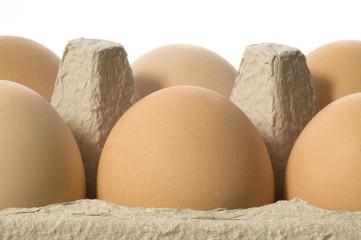 brown eggs in a grey cardboard carton box