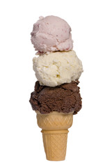 three scoops of ice cream