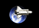 space shuttle and planet earth poster